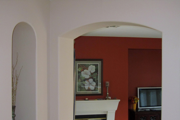 fascinating solution to painting a house with bullnose drywall